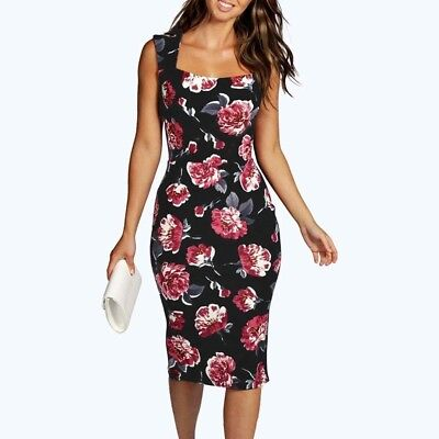 (S, Black) - Womens Pencil Dress, Mosunx Sleeveless Floral Bodycon Cocktail