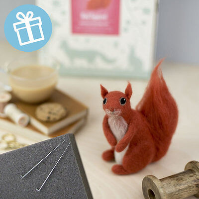 RED SQUIRREL needle felt kit boxed with foam and colour instructions