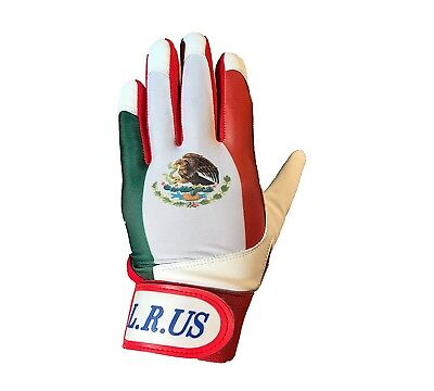 (Small) - Mexico Flag Batting Gloves -White. latinos r us. Free Delivery