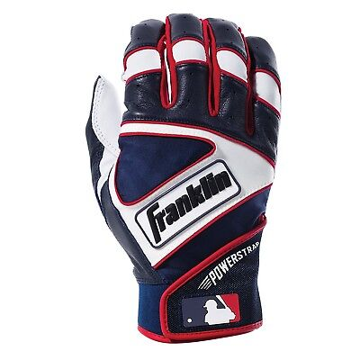 (Adult Small, Pearl/Navy/Red) - Franklin Sports MLB Powerstrap Batting Gloves