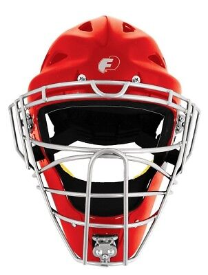 (Red/Silver) - Baseball/Softball FORCE3 - The SAFEST Catcher's Mask ever made!