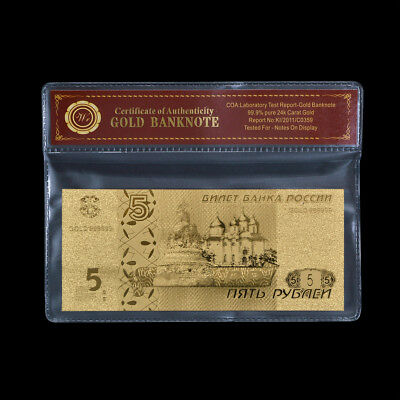 WR 24K Russia 5 Roubles Gold Banknote World Holiday Paper Money Collectible Gift