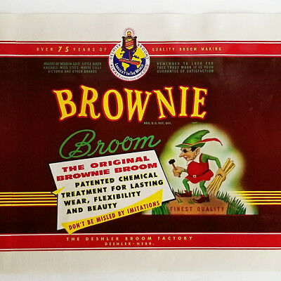 NOS vtg Brownie Broom Label Deshler Nebraska Broom Factory Advertising