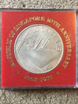 Singapore 1975 10 Dollar Silver Proof Anniversary Sealed 40mm Box Coin