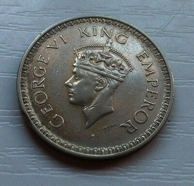 India (British), Bella Moneda De Plata, 1 Rupia, Año 1943 (George Vi), Mbc.