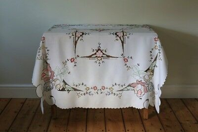 Beautiful Vintage Madeira Colourful Linen Tablecloth Hand Embroidered Flowers