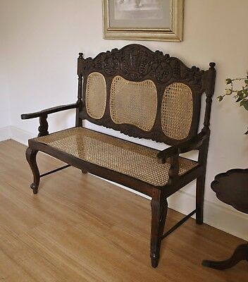Vintage Antique Colonial East India Style Carved Mahogany Cane Bench Seat Settee