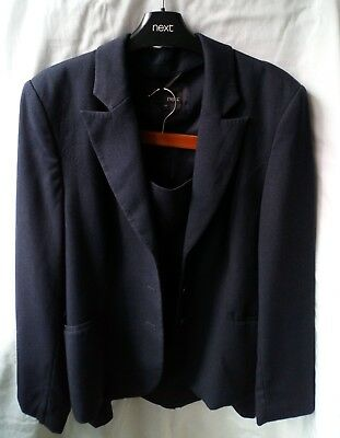 Ladies Next Navy Lined Skirt Suit Jacket Size 16R Skirt Size 14R (Worn Once)