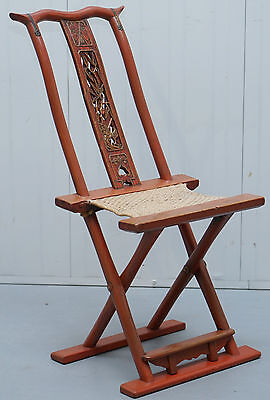 Stunning 19Th Century Chinese Shanxi Province Red Folding Chair Retails £1750