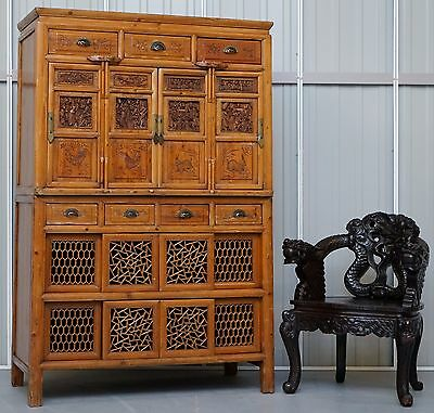 Original 100+ Year Old Teak Hand Carved Chinese Cabinet With Paperwork Rare Find
