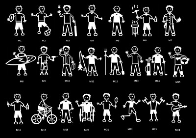 Stick Family Car Window Stickers Vinyl Bumper Decals MY STICK FIGURE FAMILY v
