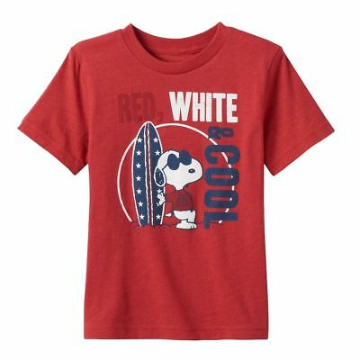 Peanuts Snoopy Toddler Boys T-Shirt Cool Surf Board Red