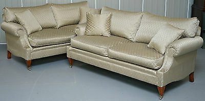 Pair Of Rrp £8000 Harrods Mayfair Inc Original Receipt Artistic Upholstery Sofas