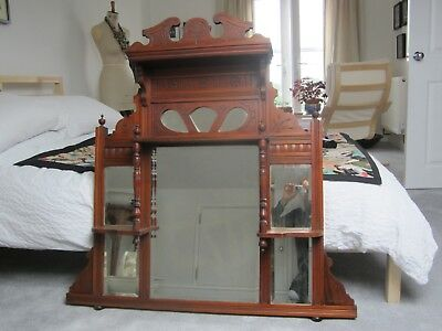 Edwardian 1900's Over Mantle Mirror with cut out and carved decoration.