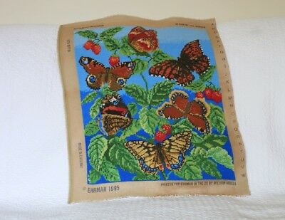 Vintage Ehrman Needlepoint Completed Tapestry Jill Gordon Butterfly Stawberry