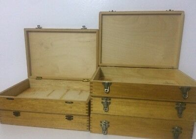 Vintage Wooden Storage Box X 5 Various Sizes For Small Objects