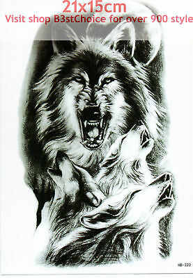 UK 21X15CM Moonlight wolves howl 3D MAN LADY Body Art Temporary Tattoo ARM BACK
