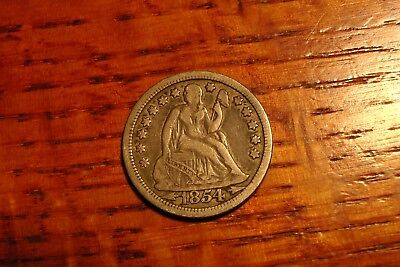 1854 10C Arrows Liberty Seated Dime