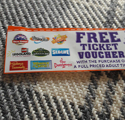2 for 1 discount voucher coupon Legoland Alton Towers SEALIFE CENTRE Thorpe Park