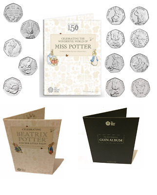 2015 to 2017 Various MISS POTTER ALBUM and individual  50p coins