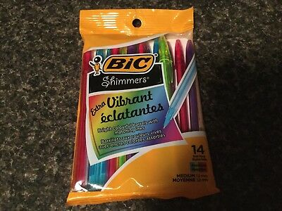 BIC Shimmer Pens. Pack Of 14 Multi Colour.