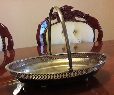ANTIQUE FRUIT BASKET WITH HANDLE / FRUIT BOWL SILVER PLATED 1800s ISG HALLMARKED