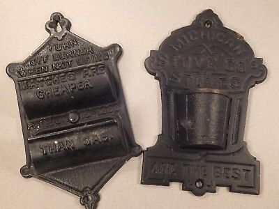 Lot of 2 Vintage Cast Iron Match Holders Michigan Stove Co. & Turn Off Burner