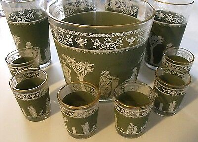Hollywood Regency Jasperware 11 pc Barware Set Ice bucket Highball Glasses MCM
