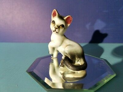 Vintage  Miniature White and Black Cat Bone China Japan