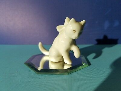 Vintage  Miniature White Cat with bow Bone China Japan