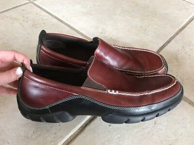 Rockport APM7255E XCS 13 Brown Black two tone Loafers Shoes Slip on driving Moc