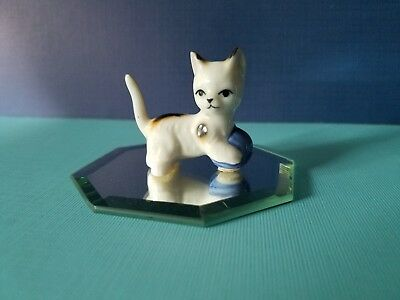 Vintage Cat Kitten Playing with Blue Ball of Yarn Figurine Bone China