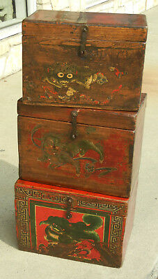 (3) Antique Chinese Asian Wooden Storage Boxes
