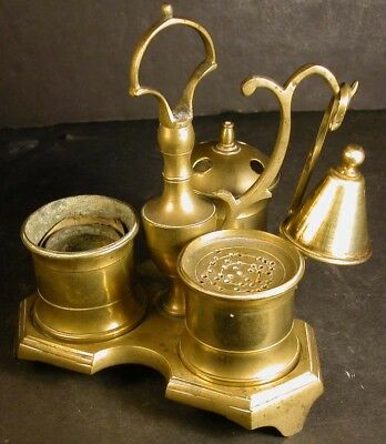 Antique 18c English Brass Standish Inkstand Inkwell Sander Candle Stand Snuffer