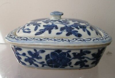 ANTIQUE old 19th Century CHINESE Canton Blue and White Porcelain Soap DISH Bowl