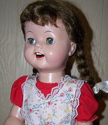 "Cute vintage 22"" Saucy Walker clone, brunette with pigtails, great!"