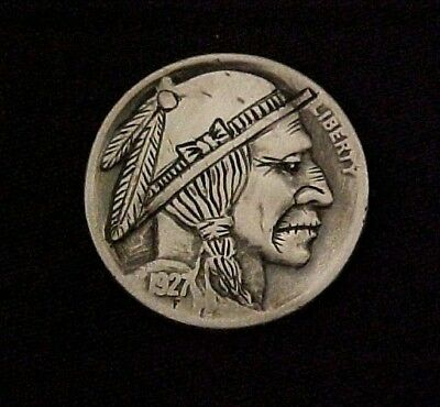 Weary Of A Changing World Hand Carved folk art coin Hobo Nickel 1304