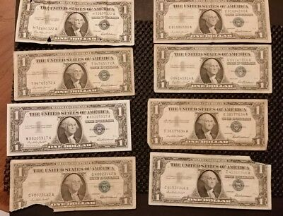 $1 Silver Certificates Lot! 8 1957 Blue Seals! Free Shipping!