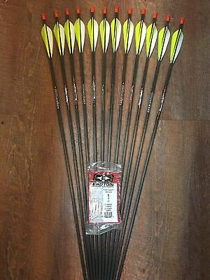 Easton Powerflight 400 Arrows With Parabolic Feathers Custom Made Set of 12