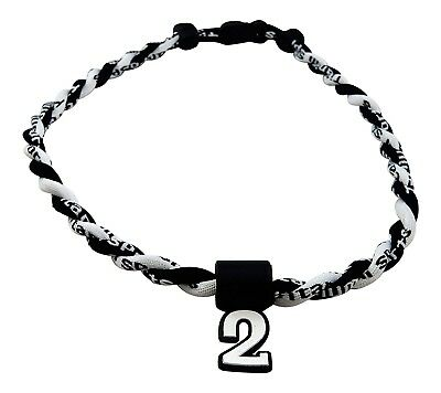 (Black White) - Pick Your Number - Twisted Titanium Sports Tornado Necklace