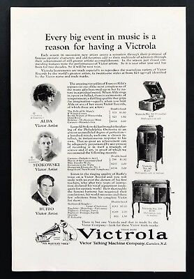 1924 Vintage Print Ad VICTROLA Records Phonographs Musicians Illustration 20's