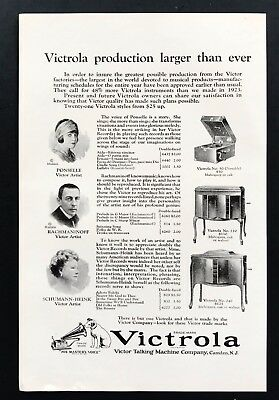 1924 Vintage Print Ad VICTROLA Music Phonograph Record Rachmaninoff 20's