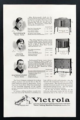 1924 Vintage Print Ad VICTROLA Phonograph Mccormack Gluck Rachimaninoff 20's