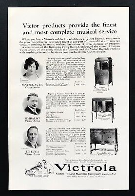 1924 Vintage Print Ad VICTROLA Talking Machine Company Musicians Records 20's