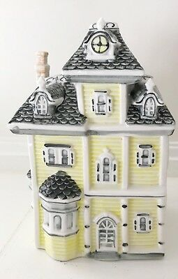 VICTORIAN HOUSE Yellow Cookie Jar Canister w Gray Shingle Roof Collectible