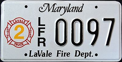 "MARYLAND "" LAVALE FIRE DEPARTMENT FIREFIGHTER "" RARE MD Specialty License Plate"