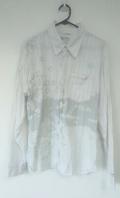 Vintage Mambo Surf Deluxe Long Sleeve Button Up Casual Shirt White Size Large