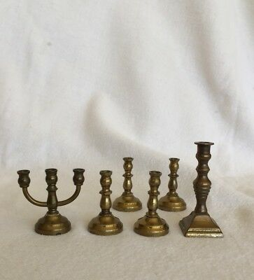 12-17:  Six Vintage Brass Candlesticks Candle Holders Miniature Dollhouse