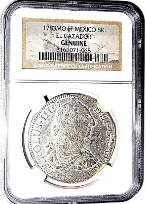 1783 MO FF Mexico 8 Reales El Cazador 8R Shipwreck Coin,NGC Certified,Very Good