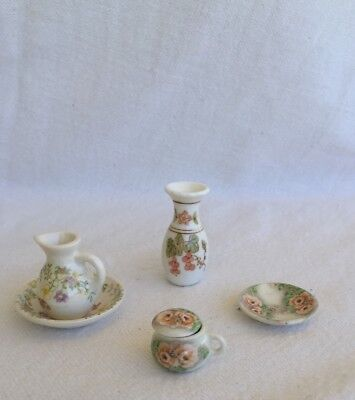 15-24: Dollhouse China Covered Tea Cup & Saucer, Vase, Washstand Bowl & Pitcher